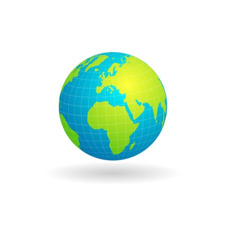 Vector design of globe maps of African and European continents isolated white background