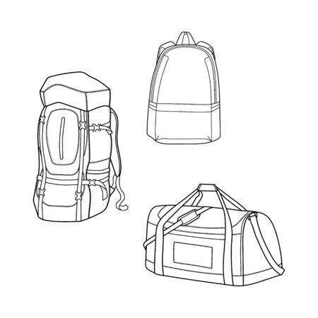 illustration of the types of bag design outline isolated white background Vettoriali