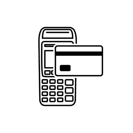 Vector Outline of NFC Payments. Pos terminal confirms contactless payment from credit card. Ilustração