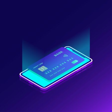 smart card in the smart phone display contactless payment concept vector illustration