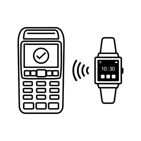 NFC Payment Vector Outline. payment by smart watch Illusztráció