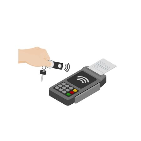 contactless payment, the concept of NFC payment key fob vector illustration Ilustração