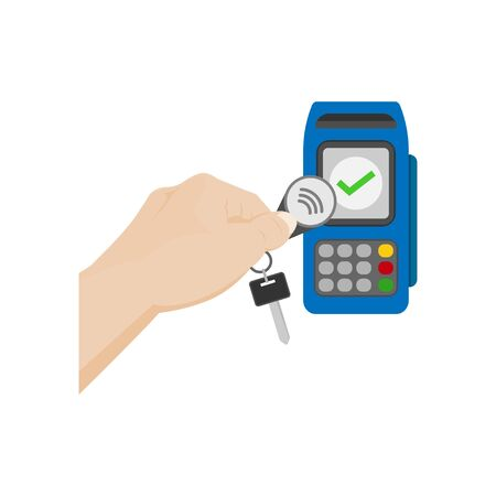 contactless payment, the concept of NFC payment key fob vector illustration Illusztráció