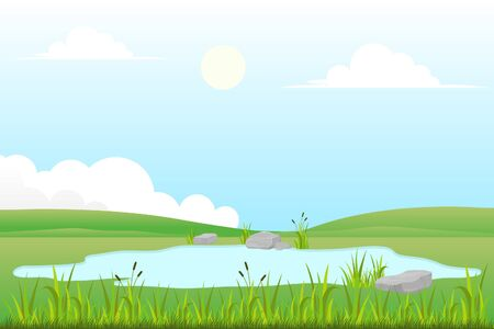 Vector illustration of grassland and small lake with natural scenery Vetores