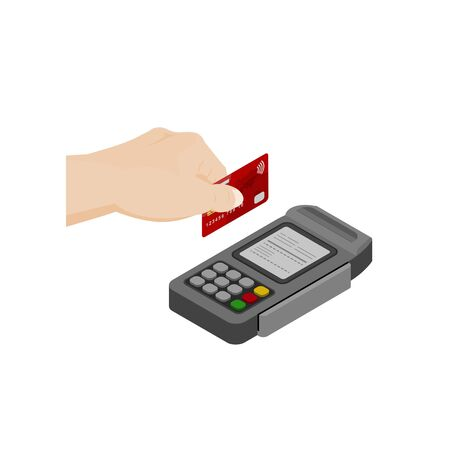 hand holding credit card swiped into EDC machine contactless payment concept illustration design on a white background