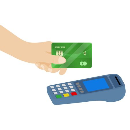 Vector illustration of NFC payment. Pos terminal confirms contactless payment from credit card. Ilustração