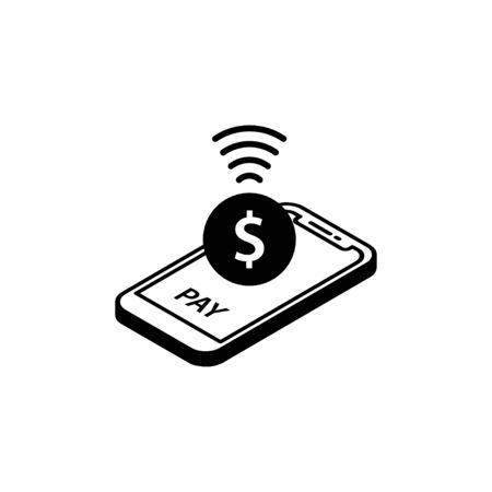 NFC Payment Vector Outline. payment by smartphone