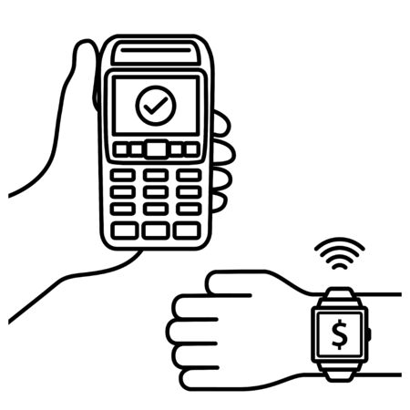 NFC Payment Vector Outline. confirmation of contactless payment machines from smart watches