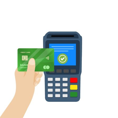 Vector illustration of NFC payment. Pos terminal confirms contactless payment from credit card. Çizim