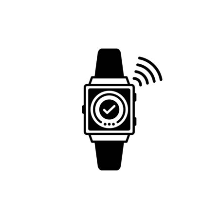 Vector Outline of smart watch NFC Payment concept.