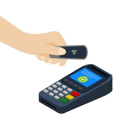 Vector illustration of a flat payment design concept without contact with key fob