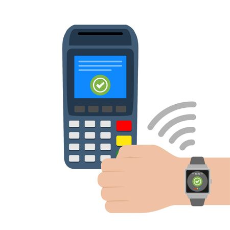 vector illustration flat design concept contactless payments with smart watches