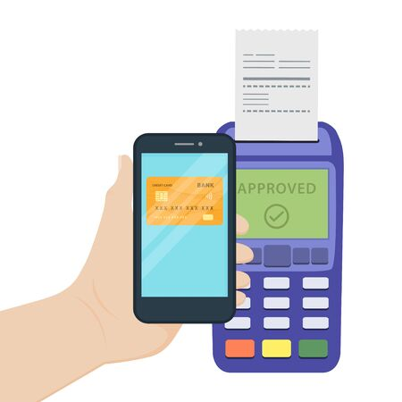 vector illustration flat design concept contactless payments with smart phone