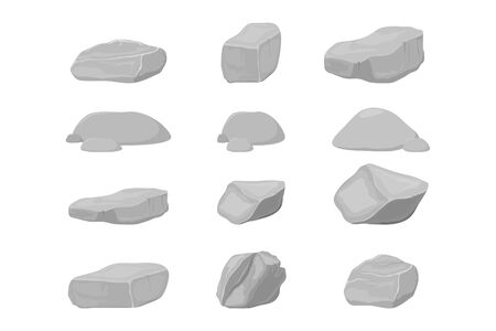 vector illustration of stone, stone elements isolated white background for templates