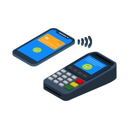 NFC Payment vector design. contactless payment with a credit card in the smart phone Ilustração