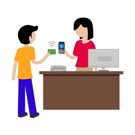 vector illustration concept of contactless payment in stores