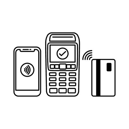 NFC Payment Vector Outline. contactless payment machines with a credit card