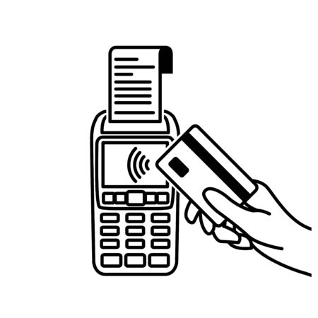 Vector Outline of NFC Payments. Pos terminal confirms contactless payment from credit card. Ilustrace