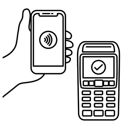 Vector Outline of NFC Payments. Pos terminal confirms contactless payment from smartphone