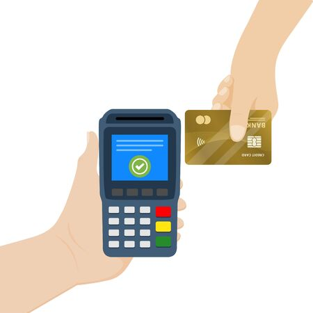 Vektorillustration der NFC-Zahlung. Pos-Terminal bestätigt kontaktlose Zahlung per Kreditkarte.