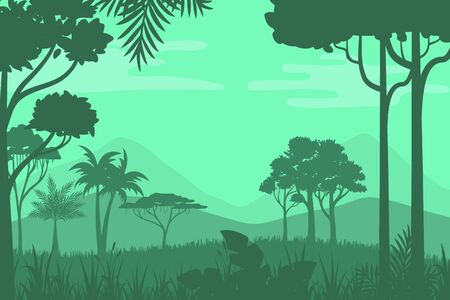 vector illustration of nature, silhouette design of natural scenery of trees and grasses in a tropical forest