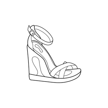 Vector design outline of wedge shoes with straps for fashion with isolated white background