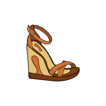 illustration of brown wedge shoe design with straps for women isolated white background