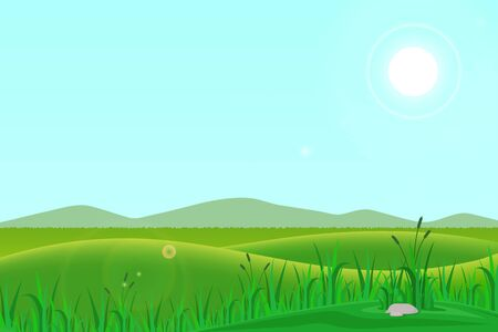 vector illustration of a natural landscape of hills with meadows in the morning