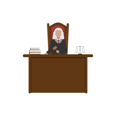 illustration of the profession of a judge with a hammer and robes working in court to give justice to a flat design Illustration