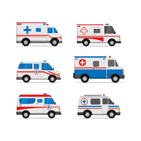 Illustration des Krankenwagen-Set-Vektor-Design mit weißem Hintergrund isoliert