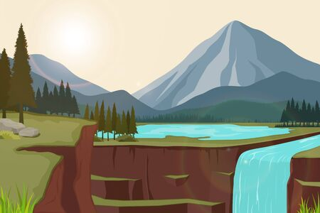 Vector illustration of natural scenery of mountains with lakes and waterfalls