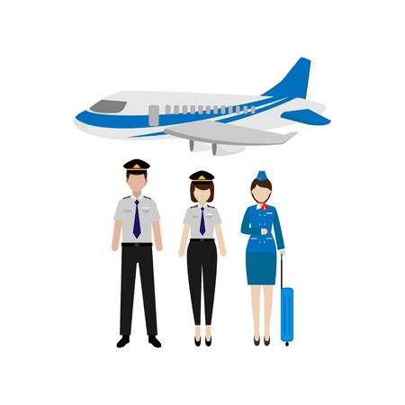 The flat design of the pilot and flight attendant characters worked on the plane as a team isolated from a white background