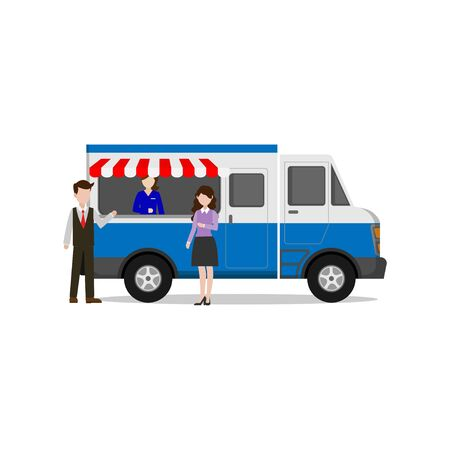 illustration of a fast food seller in a food truck concept that is easily accessible to consumers isolated from a white background Vector Illustratie