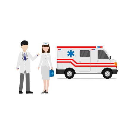 Vector design of doctors and nurses besides ambulances for medical needs and emergencies on a white background
