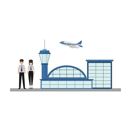 illustration profession working pilot at the airport to fly airplanes flat design