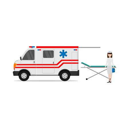 flat design of the profession of a nurse with an ambulance car that helps medical emergencies isolated white background Ilustrace