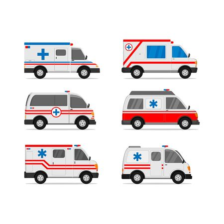 illustration of ambulance vector design set for medical and first aid needs white background Vector Illustratie