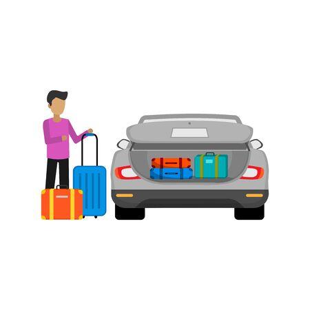 illustration design of preparing car trunk for travel