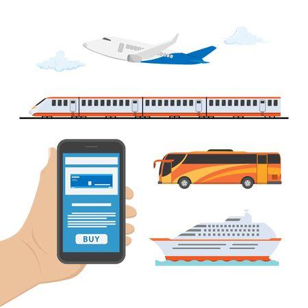 illustration of booking tickets via smart phone Archivio Fotografico - 139215237