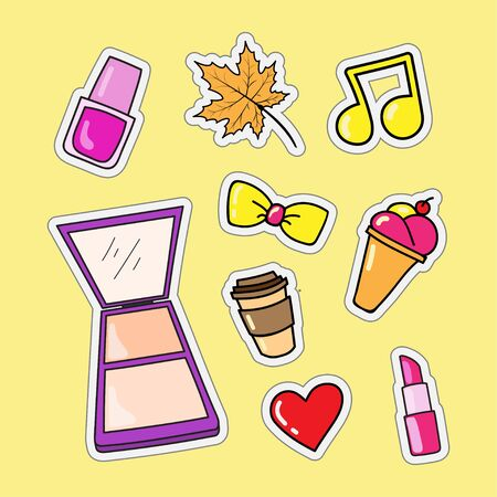 vector design of fashion and doodle style womens lifestyle for patch stickers and key chains 向量圖像