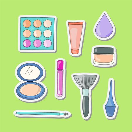 illustration of beauty cosmetic stickers for women doodle style set vector design
