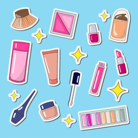 cute stickers makeup tools and cosmetics for beauty design illustration doodle style
