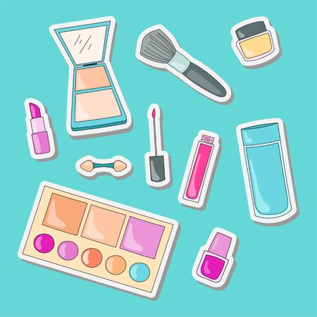 illustration of makeup stickers that are set cute and sweet flat design