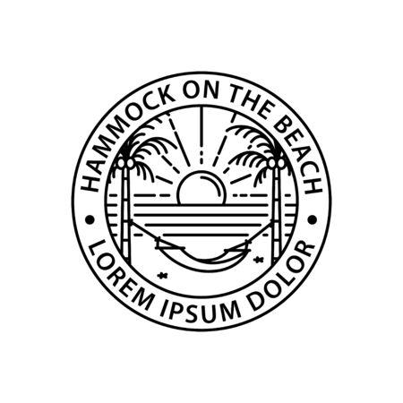 hammock logo round symbol stamp style outline vector design