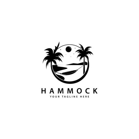hammock logo design with outdoor palm trees Ilustracja