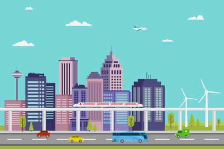 illustration of fast trains and electric cars in a smart city and eco energy vector design Vecteurs