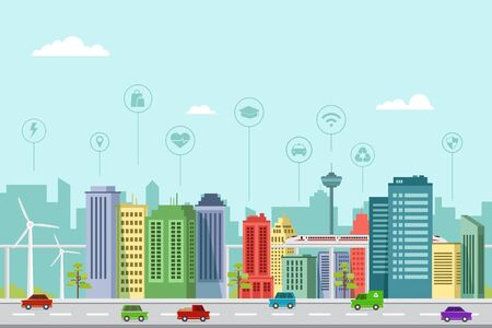 Flat design of smart city buildings in a modern future with graphic info elements Vecteurs