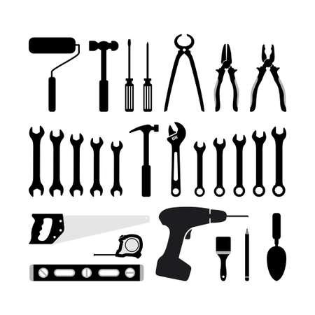 silhouette icon carpentry tool vector design concept