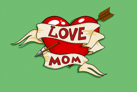 colorful heart: Vector old-school tattoo-designed poster to mother\ Illustration