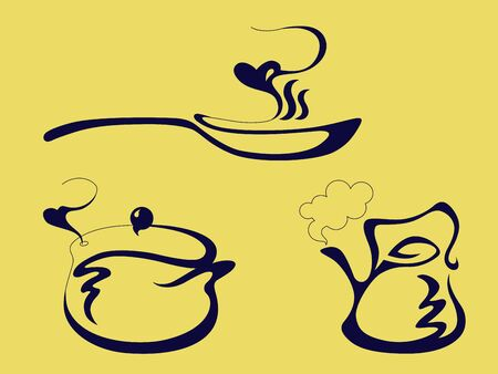 solid color: the pan, the kettle and the pot solid color Illustration